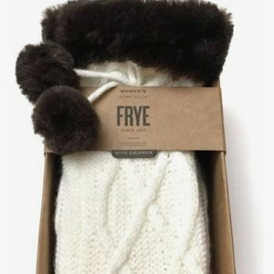 Frye Ivory Cable Knit Faux Fur Non Skid Socks